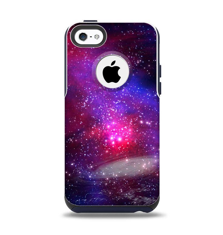 The Vivid Pink Galaxy Lights Apple iPhone 5c Otterbox Commuter Case Skin Set