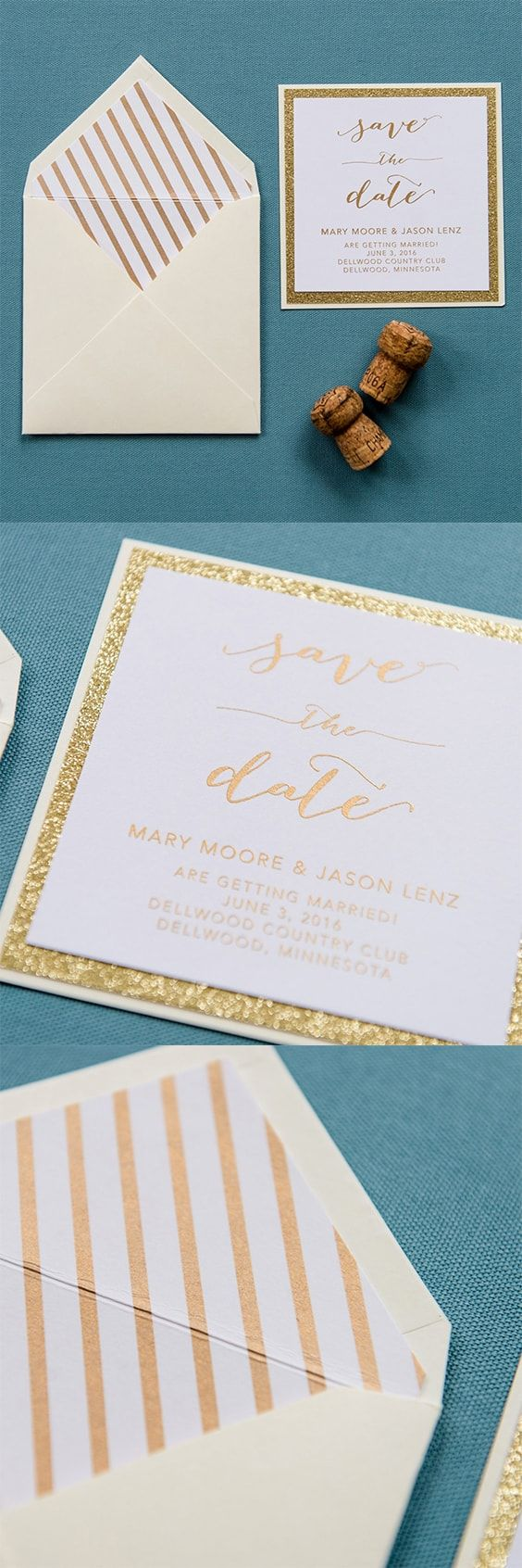#Glitter Save the Date by @engagingpapers. A classic take on our Heather Save the Date, but with a bit more #glam and personality. This 3 layer #savethedate features a base layer of cardstock coupled with a layer of glitter that gives that wow factor. Finally, topped off with a layer of white matte cardstock with your information printed in #gold #metallic ink. The #envelope is lined with a striped metallic ink as well.