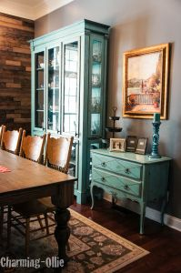 Charming-Ollie Robin's Egg Blue Dining Room Furniture Reveal, Farmhouse Table, Pallet Wall
