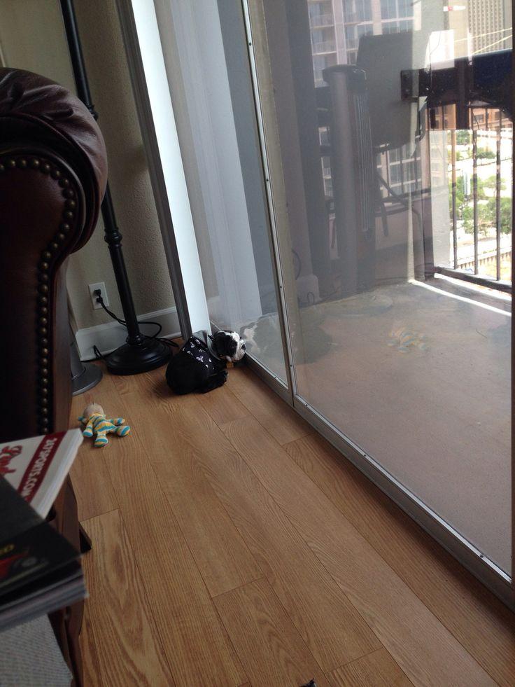 Sleeping against himself in glass