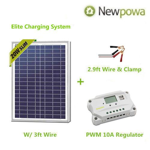 Newpowa 20w Watt 12v Solar Panel Pwm 10a Charge Controller Battery Charger Kit 12v Solar Panel Solar Kit Solar Panels
