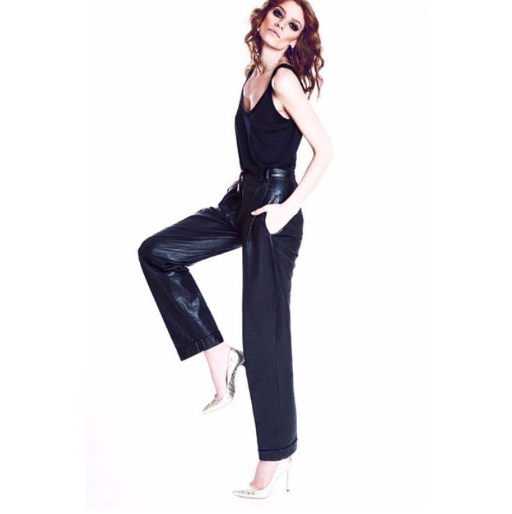 #Manokhi black leather pants
