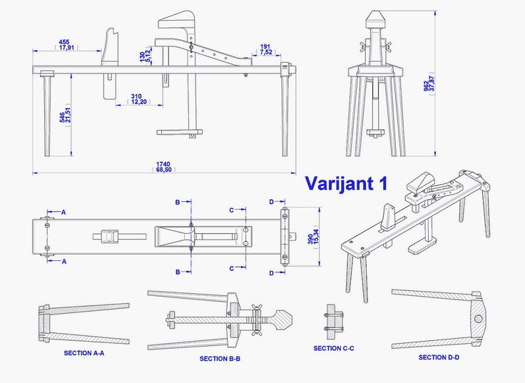 Shaving horse plan - Assembly 2D drawing (Variant 1) | woodworking | Wood tools, Carving tools ...