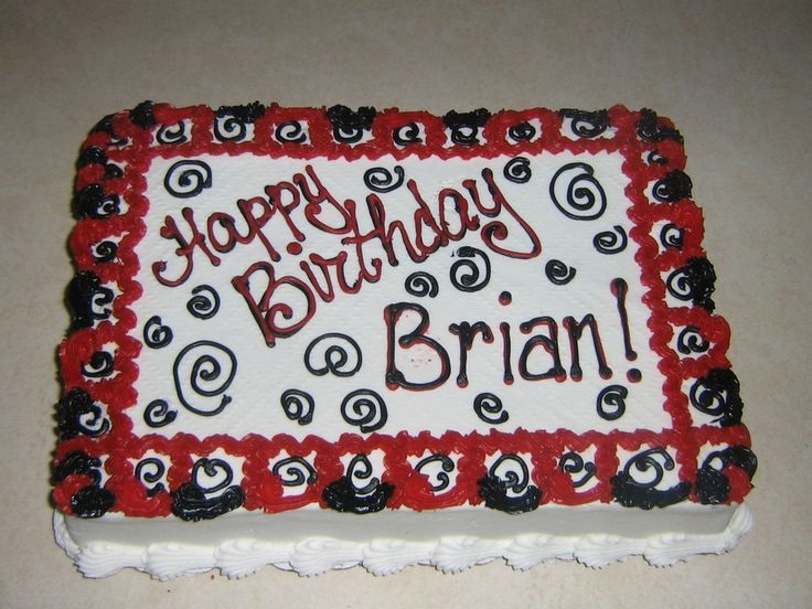 40th birthday 1/4 sheet cake pictures for men | red black birthday a 1 4 sheet cake decorated in school theme colors ...