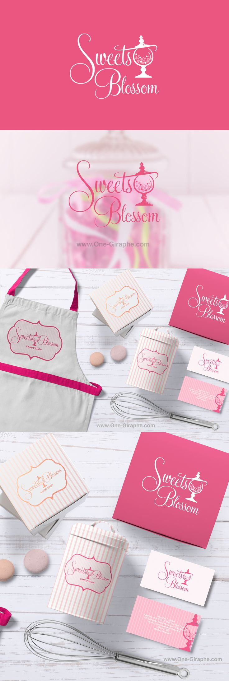 Sweets Blossom - Candy Store situated in Hong Kong http://one-giraphe.com/prev.php?c=205 #candystore #candy #logo #logodesign #designer #brandidentity #packaging #cake #cupcake #sweets #pink  #etsy #behance #logos #needlogo