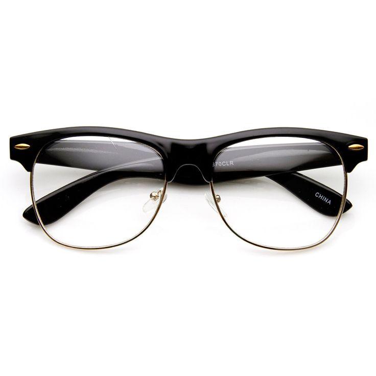 Classic Half Frame Semi-Rimless Clear Lens Horn Rimmed Glasses