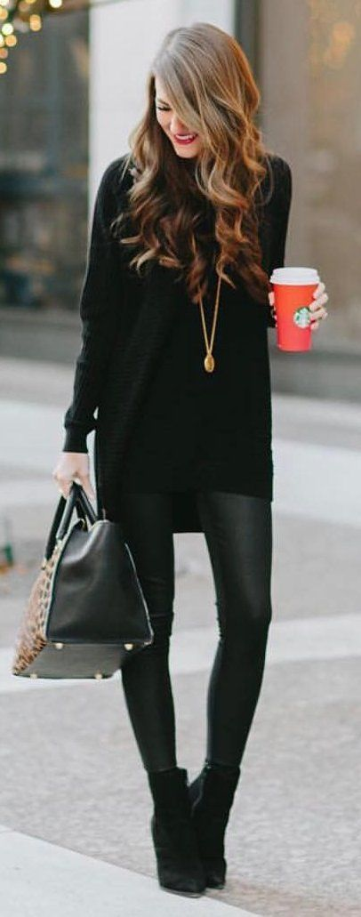 #winter #fashion / Black Knit Dress / Leather Leggings / Black Booties https://bellanblue.com