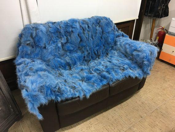 Blue fox fur blanket/throw by skffurs on Etsy