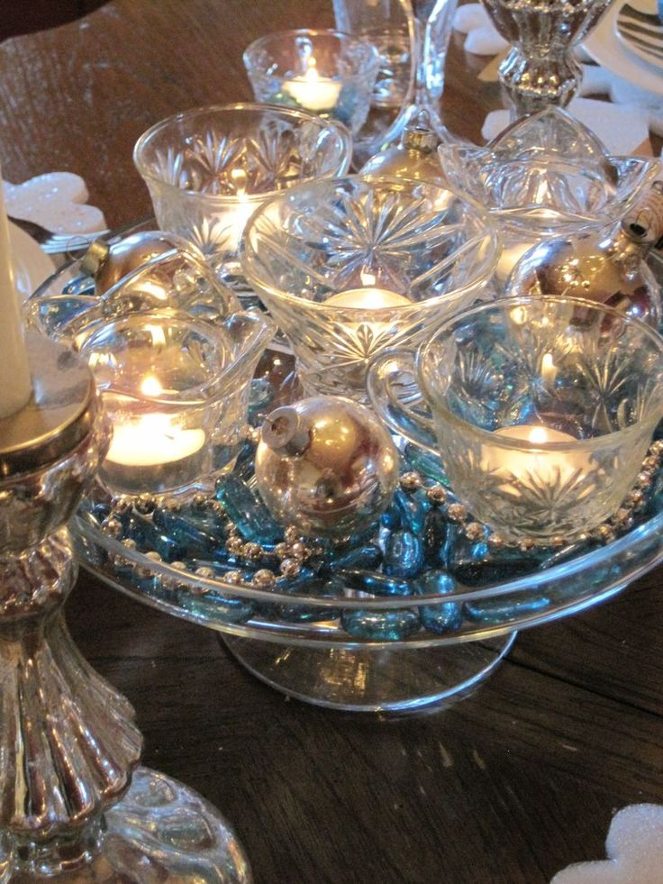 New Year's centerpiece on a cake plate, using vintage punch cups