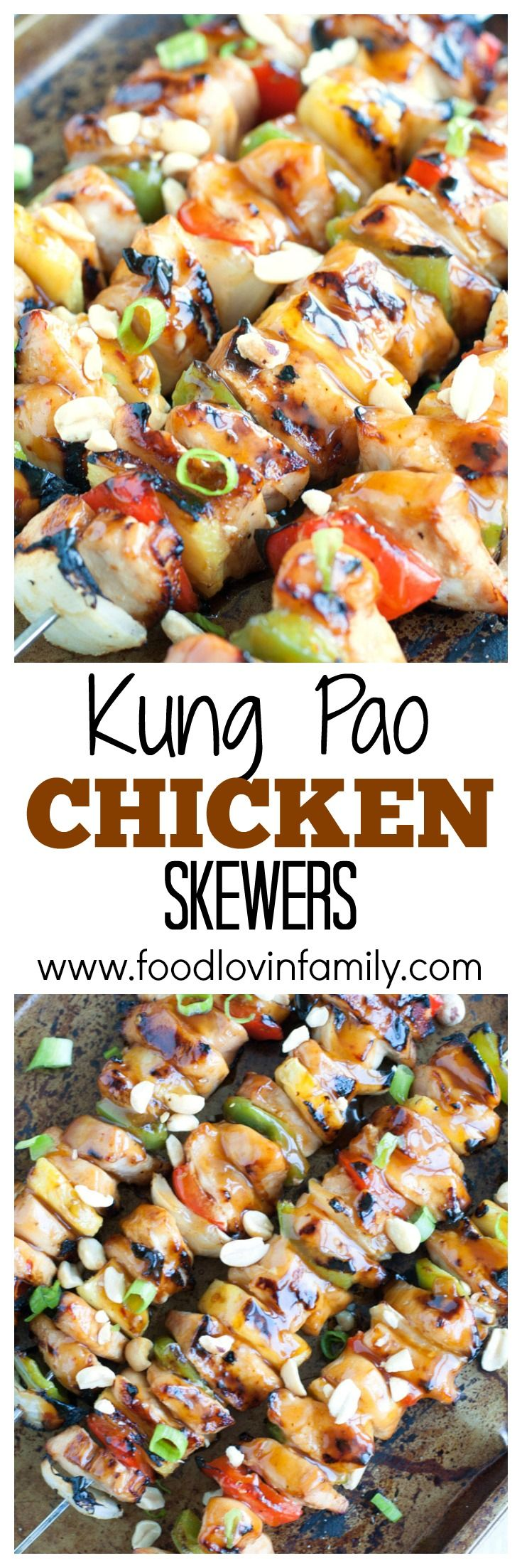 Kung Pao Chicken Skewers filled with chicken, peppers, onions and pineapple, coated in Kung Pao sauce #ad #SimpleSecret @walmart