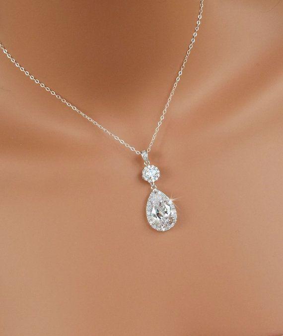 Collier cristal Bridal, pendentif Cristal mariage, bijoux de mariage, bijoux de demoiselle d