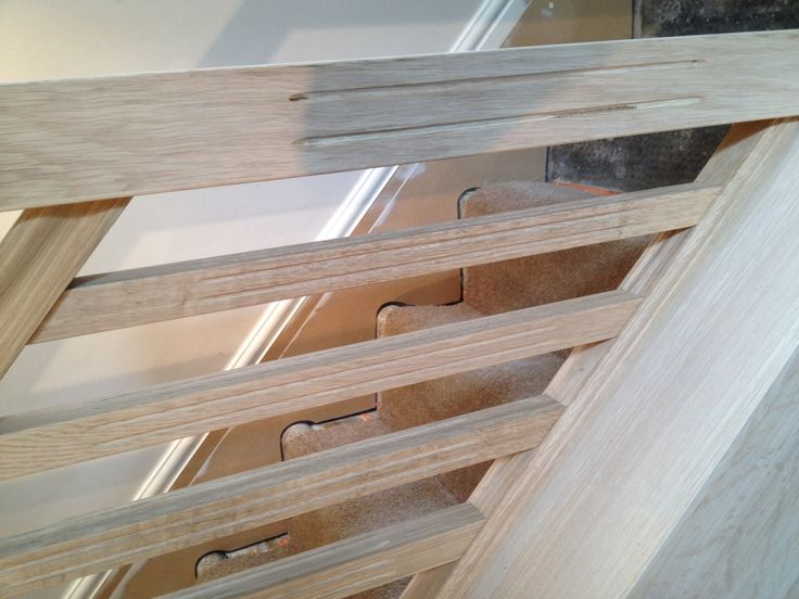 Oak fluted spindles and newel post