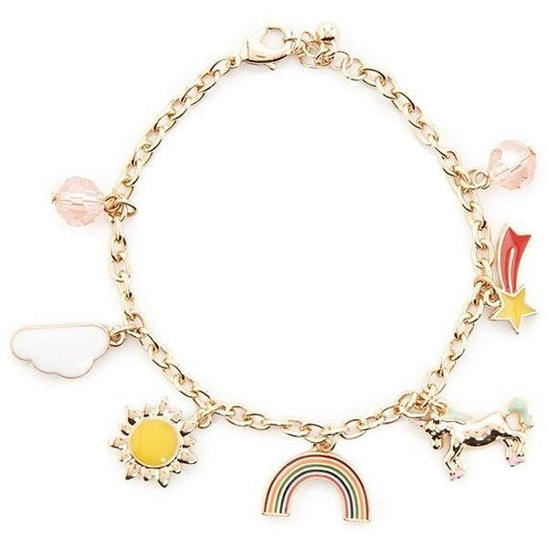 Forever21 Unicorn Charm Bracelet ($5.90) ❤ liked on Polyvore featuring jewelry, bracelets, charm bracelet bangle, charm bracelet jewelry, star bangle, lobster clasp charms and unicorn jewelry