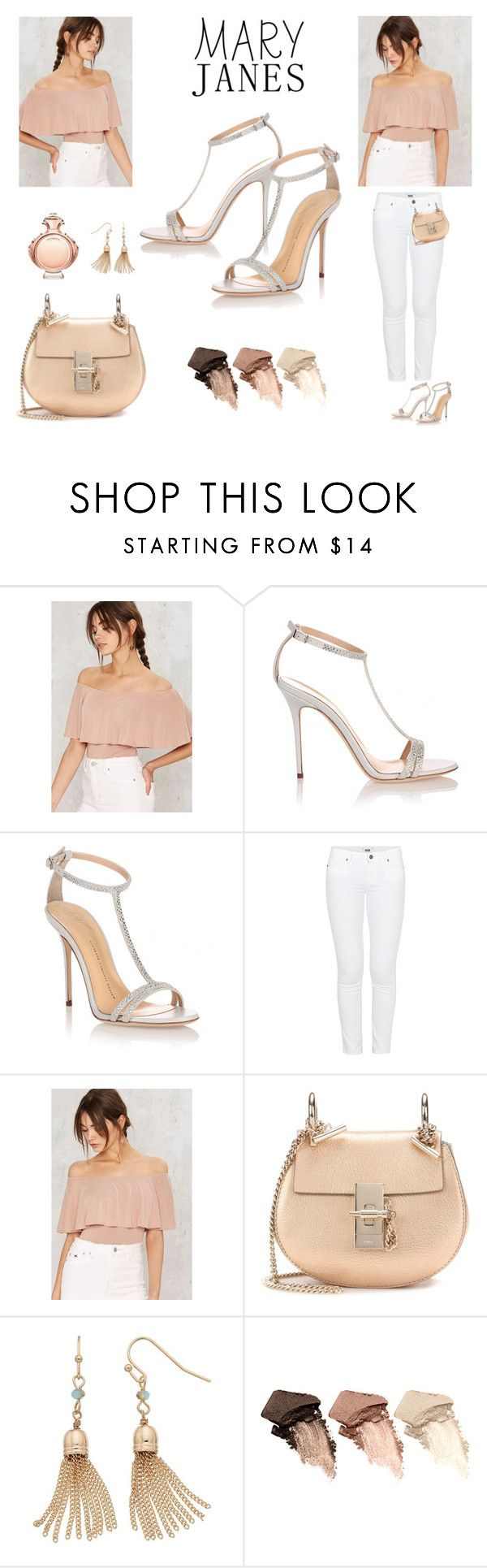 """""""Off The Shoulder Top"""" by monruem on Polyvore featuring Giuseppe Zanotti, Paige Denim, Chloé, LC Lauren Conrad, Urban Decay and Paco Rabanne"""