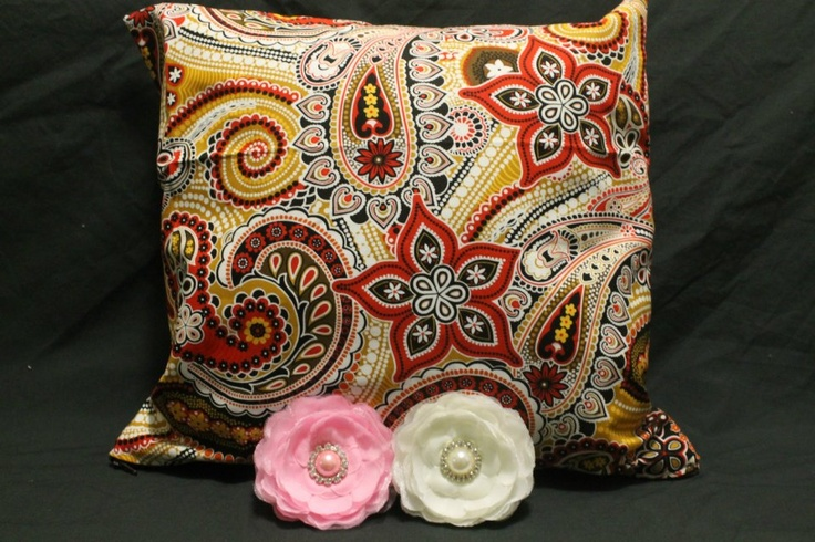 Red Paisley Cushion Cover  http://www.facebook.com/MadeBySarah