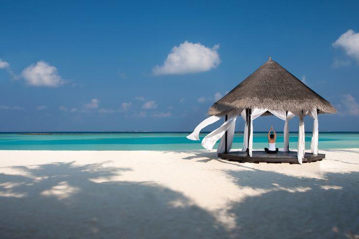 Private yoga classes and pavilions at The Sun Siyam Iru Fushi Maldives.  #Maldives #yoga #Beachyoga #Luxury #Resort #Relax #Holiday #Beach
