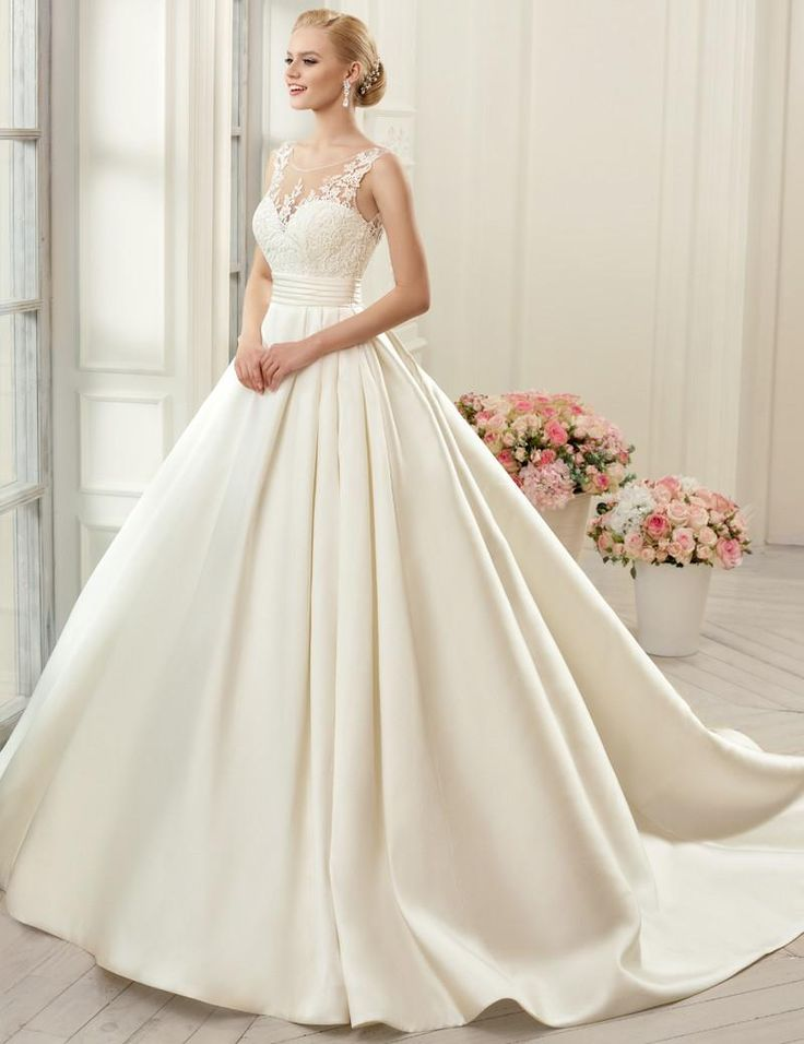 Trendy Cap Sleeve Sheer Neck Sexy Wedding Dresses Backless Bridal Gown A line Satin WEdding Gown