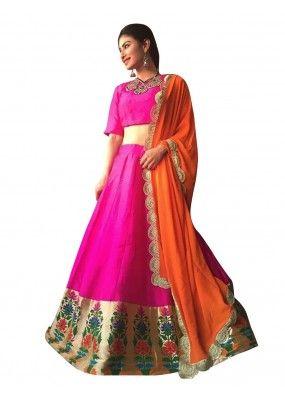 Bollywood Replica - Navratri Special Pink & Orange Lehenga Choli - 60088