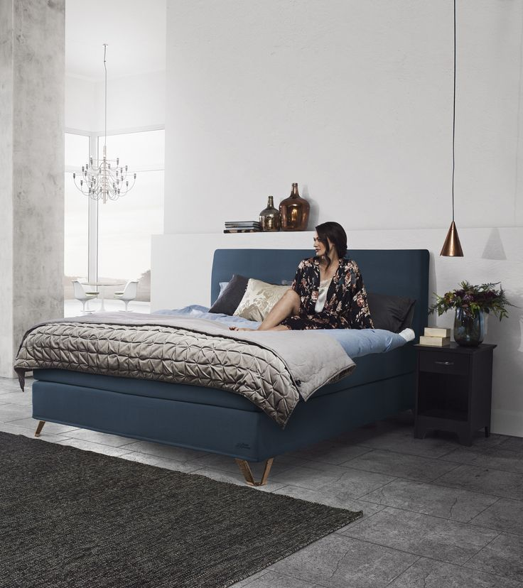 Jensen Supreme continental bed in Sparkling Petrol textiles.
