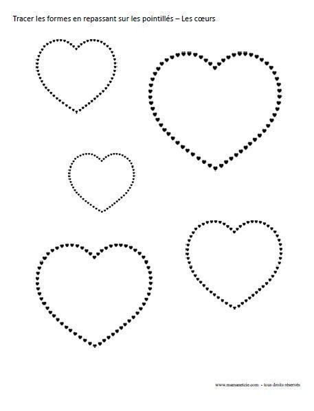 St-Valentin - Tracer les formes en repassant sur les pointillés - Activité à imprimer