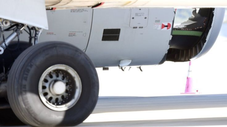 China Eastern Airlines plane with a hole in an engine casing, Sydney airport (12 June)