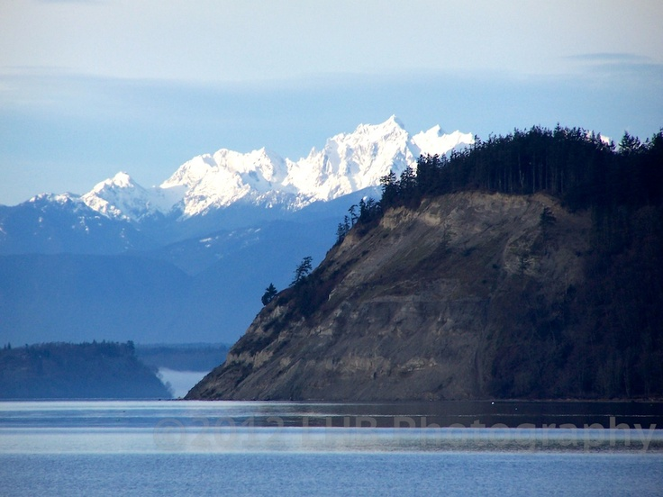 Double Bluff and the Olympic Mts beyond.  Whidbey Island.