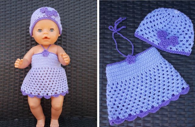 Jurkje en muts voor Baby Born pop ( met gratis patronen) / Dress and cap for Baby Born doll (with free patterns)