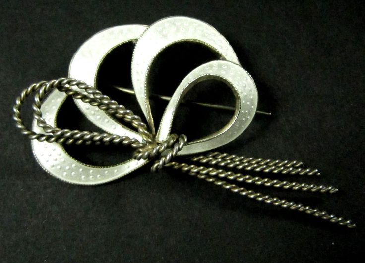 Vintage Scandinavian sterling silver enamel brooch NAD Denmark or Norway