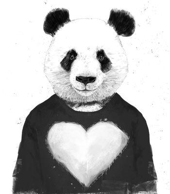 Arte LOVELY PANDA de Balazs Solti!! Disponível em camiseta, almofada, caneca e…