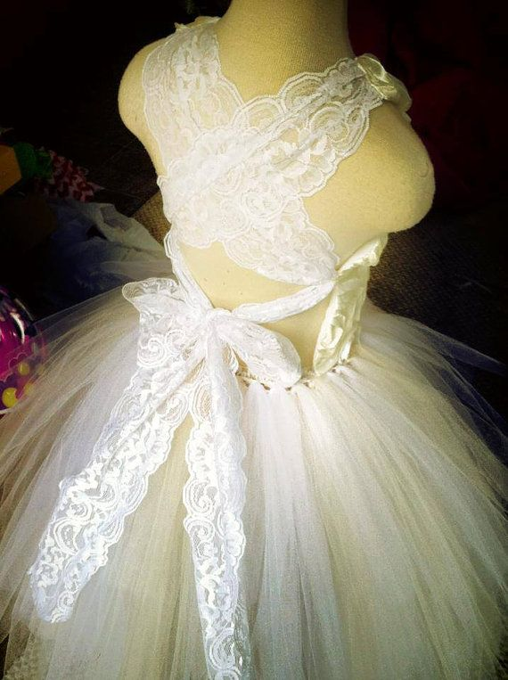 White and Ivory Wide Lace Corset Back Raised Satin Rosette Top Long Layered Tutu Flower Girl Dress Wedding Pageant Christmas Holiday
