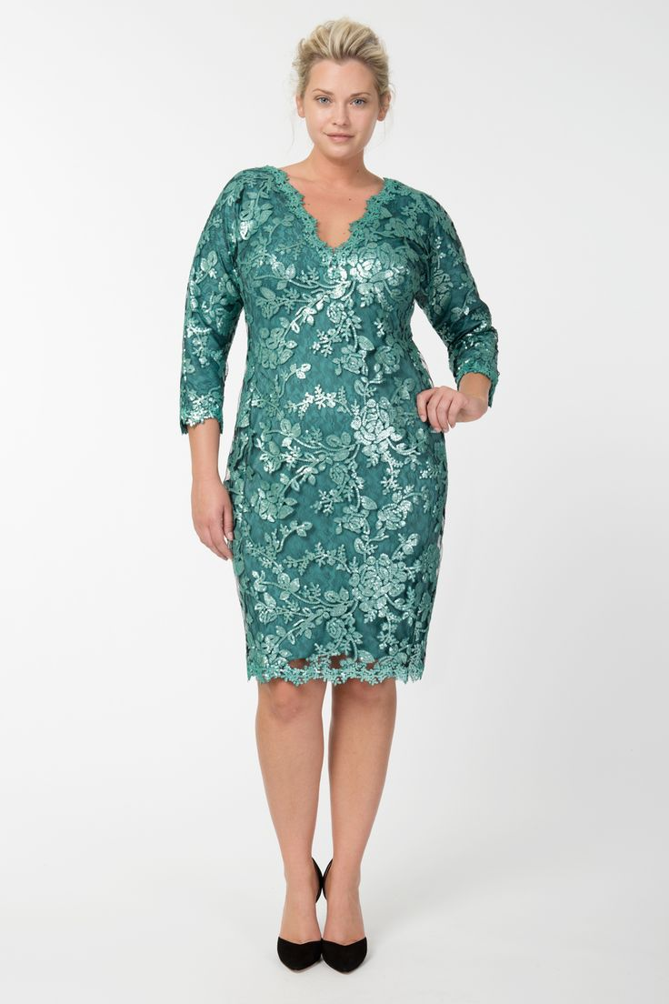 Paillette Embroidered Lace V-Neck ¾ Sleeve Dress in Mystic Teal   Tadashi Shoji Fall / Holiday Plus Size Collection