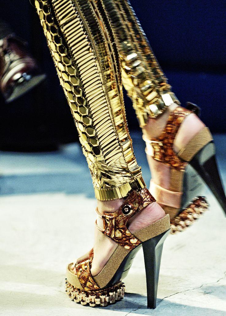 Glamrock: Balenciaga Spring Summer 2007 Runway Shoes. High Fashion Metal Look.