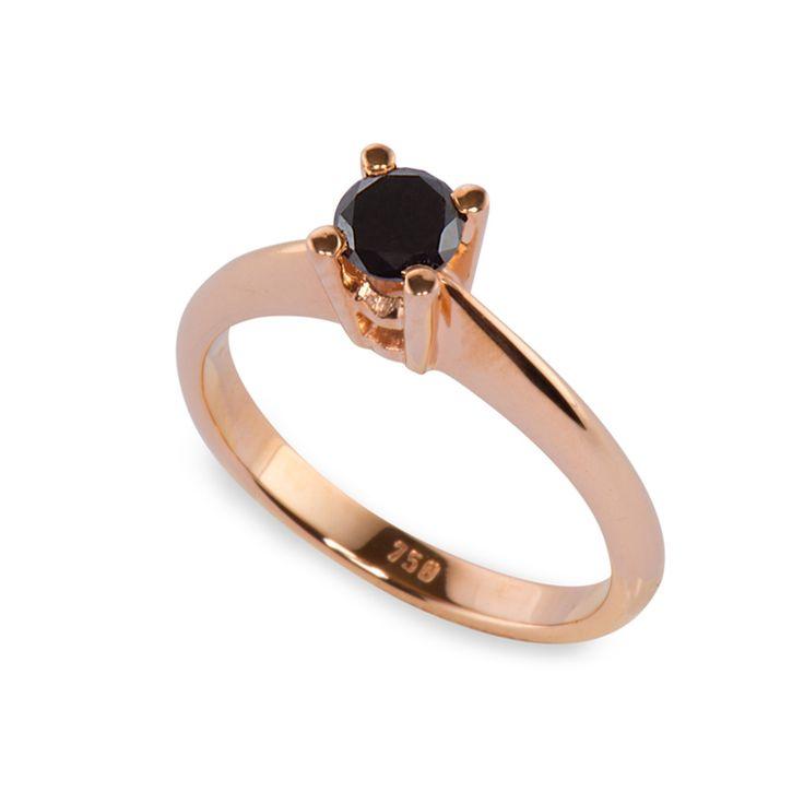 Μονόπετρο δαχτυλίδι με μαύρο διαμάντι από ροζ χρυσό Κ18 - Monopetro black diamond ring | Δαχτυλίδια με μαύρα διαμάντια ΤΣΑΛΔΑΡΗΣ στο Χαλάνδρι