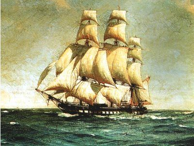 HMS Lutine, a French-built ship-rigged frigate of the late 18th century