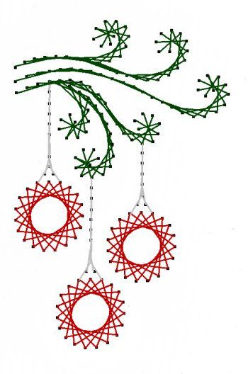 Swirl Christmas Ornaments Paper Embroidery Pattern for Greeting Cards.