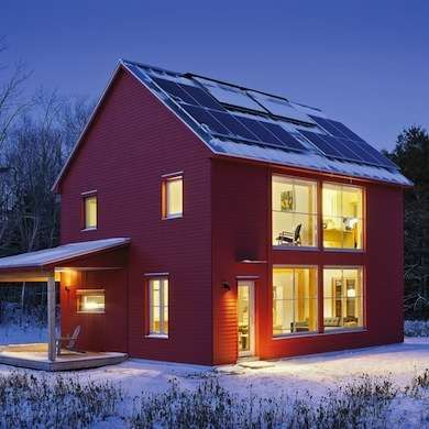 Red Prefab House Architect Matthew O'Malia Passive solar