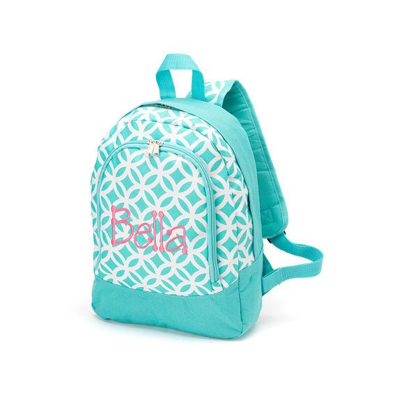Personalized Kids Backpacks in Sadie Turquiose print by PoshyKids, $22.00