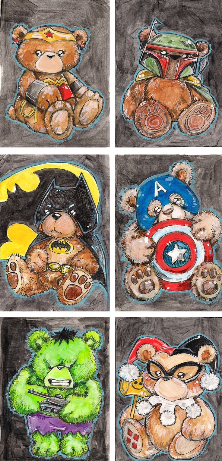 Geeky Teddy Bears by Bianca Roman-Stumpff - Lots more at the link, only $5 each!