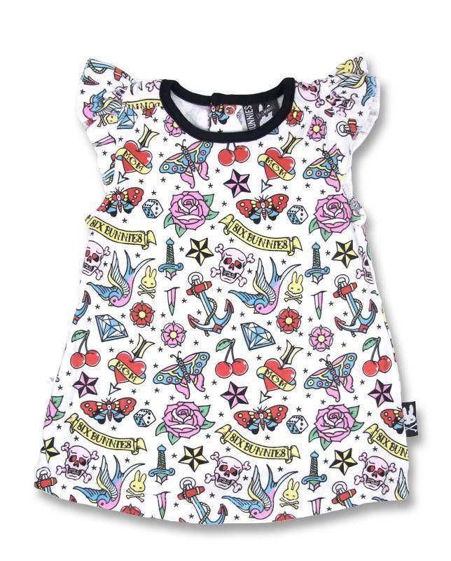 Six Bunnies Pink Punk Rock Tattoo Cherry Star Heart Rockabilly baby girl dress #SixBunnies #Everyday
