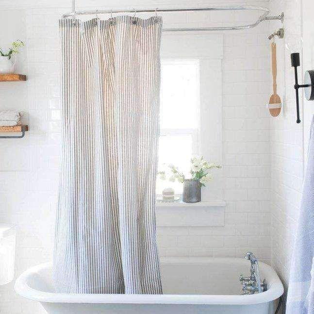 Ticking Stripe Shower Curtain Striped Shower Curtains Curtains