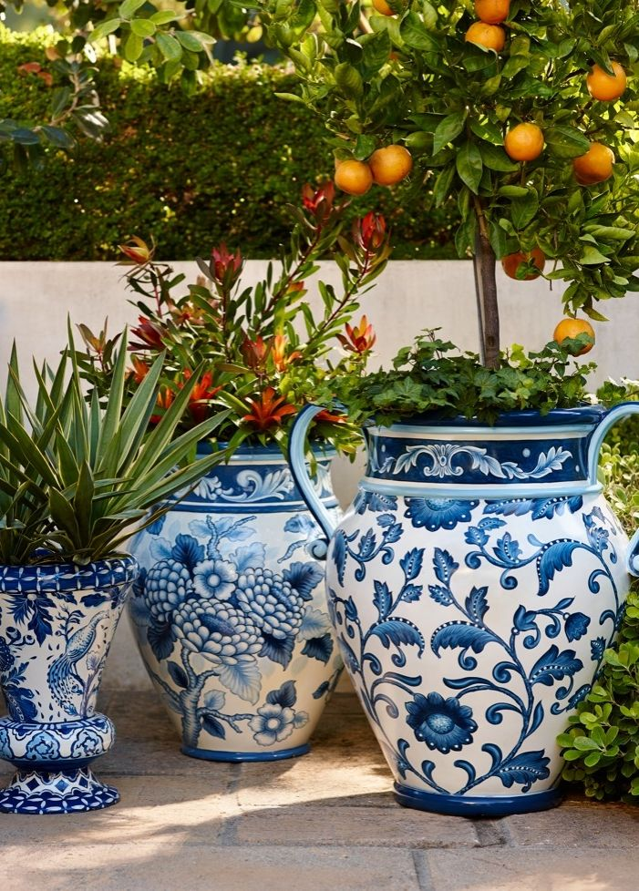 Blue and white painted planters beautiful planters and for Big pot painting designs