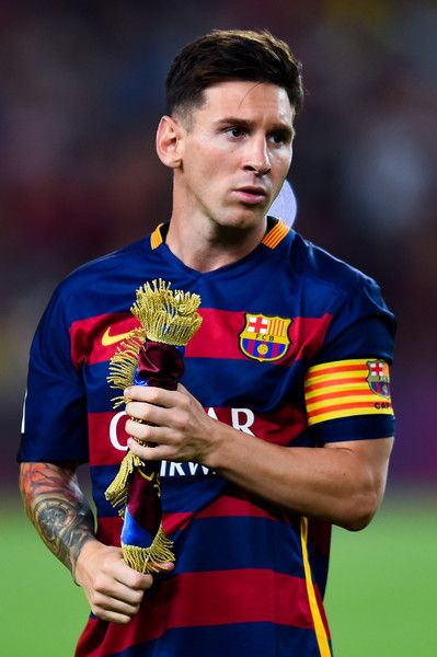 Lionel Messi of FC Barcelona looks on during the Joan Gamper trophy match at Camp Nou on August 5, 2015 in Barcelona, Catalonia.