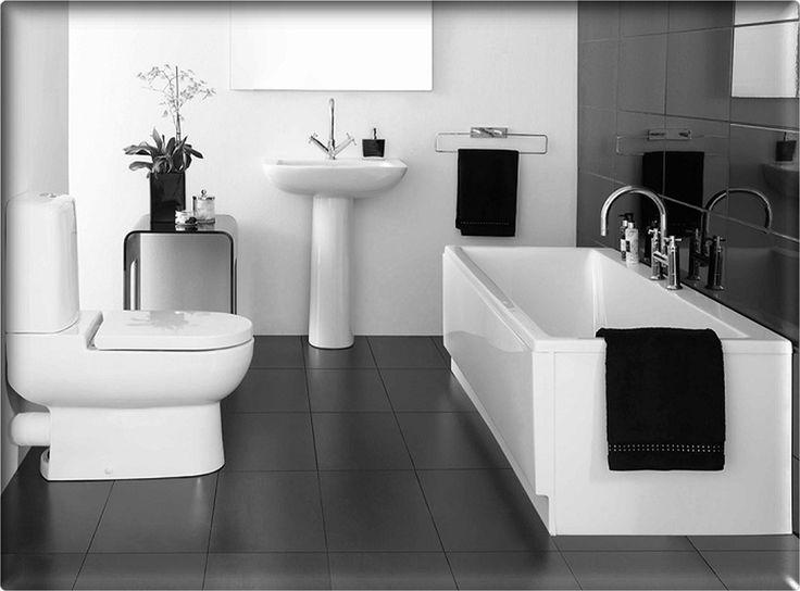 Bathroom Rectangle White Porcelain Tub Black And White Bathroom White Toilet  Designs Bathroom Floor Tile Ideas With White Bathroom Designs Inspiration  ...
