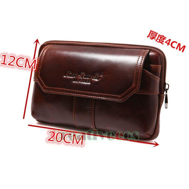 New Men Oil Wax Genuine Leather Cowhide Vintage Travel Hiking Cell Phone Hip Bum Belt Pouch Fanny Pack Waist Wallet Purse Clutch Bag