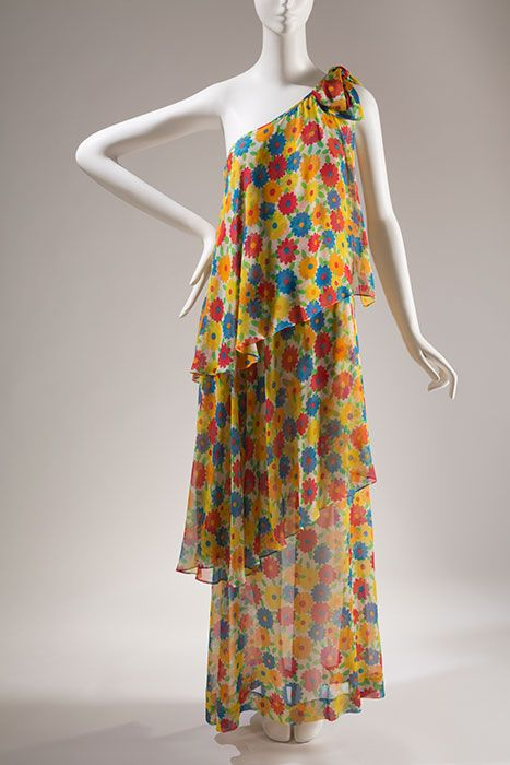 Saint Laurent Rive Gauche Multi-color evening dress, printed silk chiffon, 1972, France, 87.146.27, gift of Rosalind Gersten Jacobs