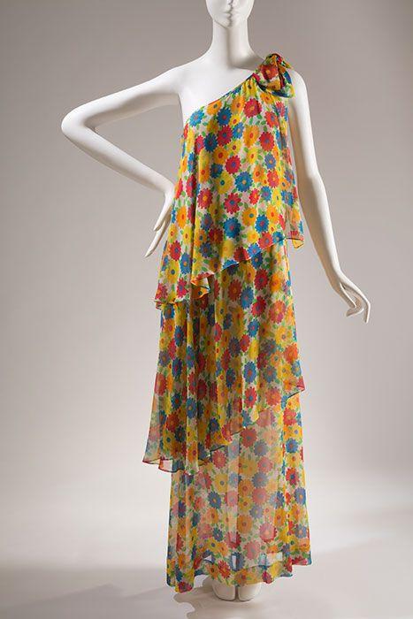 Saint Laurent Rive Gauche Multi-color evening dress, printed silk chiffon, 1972, France, 87.146.27, gift of Rosalind Gersten Jacobs