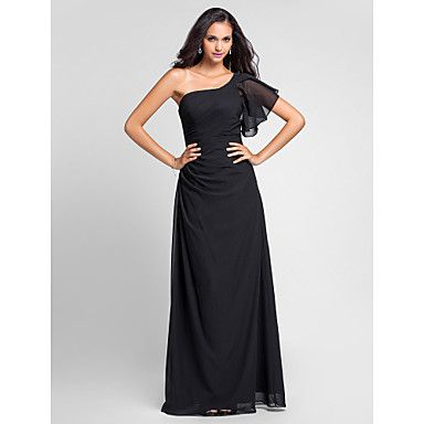 lanting+vloer-length+chiffon+bruidsmeisje+jurk+-+zwart+grote+maten+/+petite+mantel+/+kolom+een+schouder+–+EUR+€+88.19