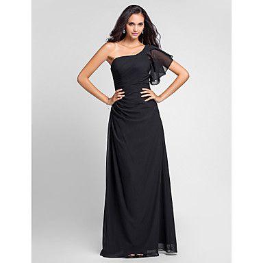 Floor-length Chiffon Bridesmaid Dress - Black Plus Sizes / Petite Sheath/Column One Shoulder – USD $ 99.99