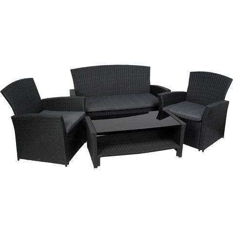 Loungeset, Madrid möbelgrupp i konstrotting med soffa och två fåtöljer med sittdynor samt soffbord med glasskiva, svart, 3002554