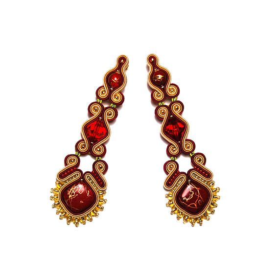 Soutache earrings dark red burgundy beige gold jewelry